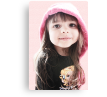 Little Girl In Pink Hood Canvas Print