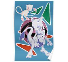 Pokemon Mew & Mewtwo Poster