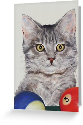 Little Pool Playing Cat by Pam Humbargar