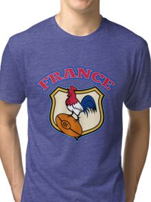 rooster cockerel france rugby shield Tri-blend T-Shirt