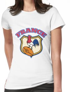 rooster cockerel france rugby shield Womens Fitted T-Shirt