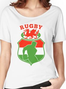rugby player running with ball Wales  Women's Relaxed Fit T-Shirt