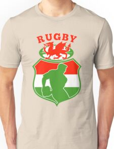 rugby player running with ball Wales  Unisex T-Shirt