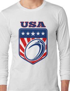 Rugby Ball Shield USA Long Sleeve T-Shirt