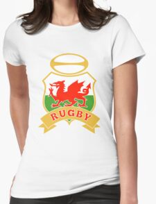 Welsh dragon rugby ball Wales Flag Womens Fitted T-Shirt