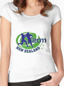 rugby player running ball tackled new zealand 2011 Women's Fitted Scoop T-Shirt