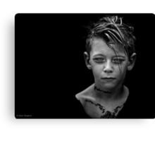Another day, another boy who's tattoos are temporary but whose love for darkness and the macabre is likely to last a while longer. Canvas Print