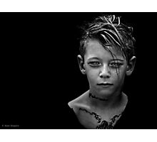 Another day, another boy who's tattoos are temporary but whose love for darkness and the macabre is likely to last a while longer. Photographic Print