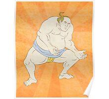 Japanese Sumo wrestler in fighting stance print Poster