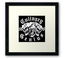 Chef Skull Trio: Culinary Genius (white text) Framed Print