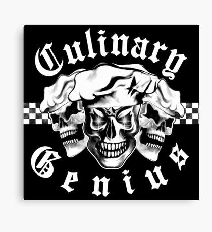 Chef Skull Trio: Culinary Genius (white text) Canvas Print