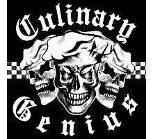 Chef Skull Trio: Culinary Genius (white text) Photographic Print