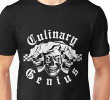 Chef Skull Trio: Culinary Genius (white text) Unisex T-Shirt