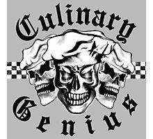 Chef Skull Trio: Culinary Genius (black text) Photographic Print