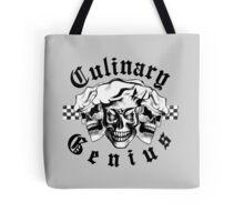 Chef Skull Trio: Culinary Genius (black text) Tote Bag