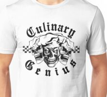 Chef Skull Trio: Culinary Genius (black text) Unisex T-Shirt