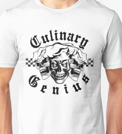 Chef Skull Trio: Culinary Genius (black text) Unisex T-Shirt