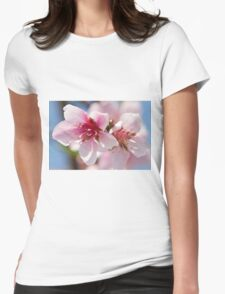 peach flower on tree Womens Fitted T-Shirt