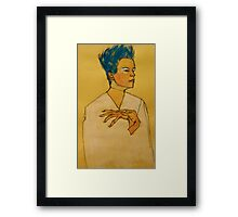 After Egon Schiele (Austria 1890-1918) 'Self Portrait with hands on chest'. 1910 © Framed Print