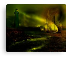 Sail by Moon Light Canvas Print
