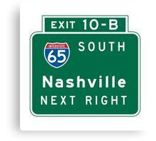 Nashville, TN Road Sign, USA Canvas Print