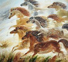 running horses by artistelena
