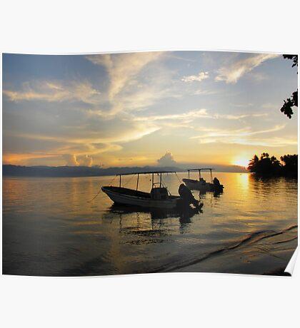 Sunset on Ataliklikun Bay With Boats PNG Poster