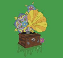'Funky Music' Retro Gramophone Graphic Illustration Kids Clothes