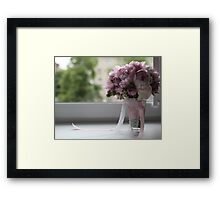 bridal bouquet on the window Framed Print