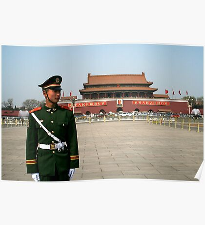Standing to attention in Tian'an men square Poster
