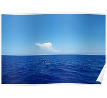 Empty ocean and little white cloud Poster