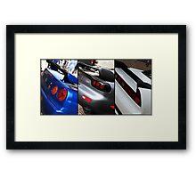 Honda NSX-R, Nissan Skyline GTR, Mazda RX7 Spirit-R collage Framed Print