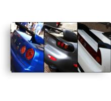 Honda NSX-R, Nissan Skyline GTR, Mazda RX7 Spirit-R collage Canvas Print