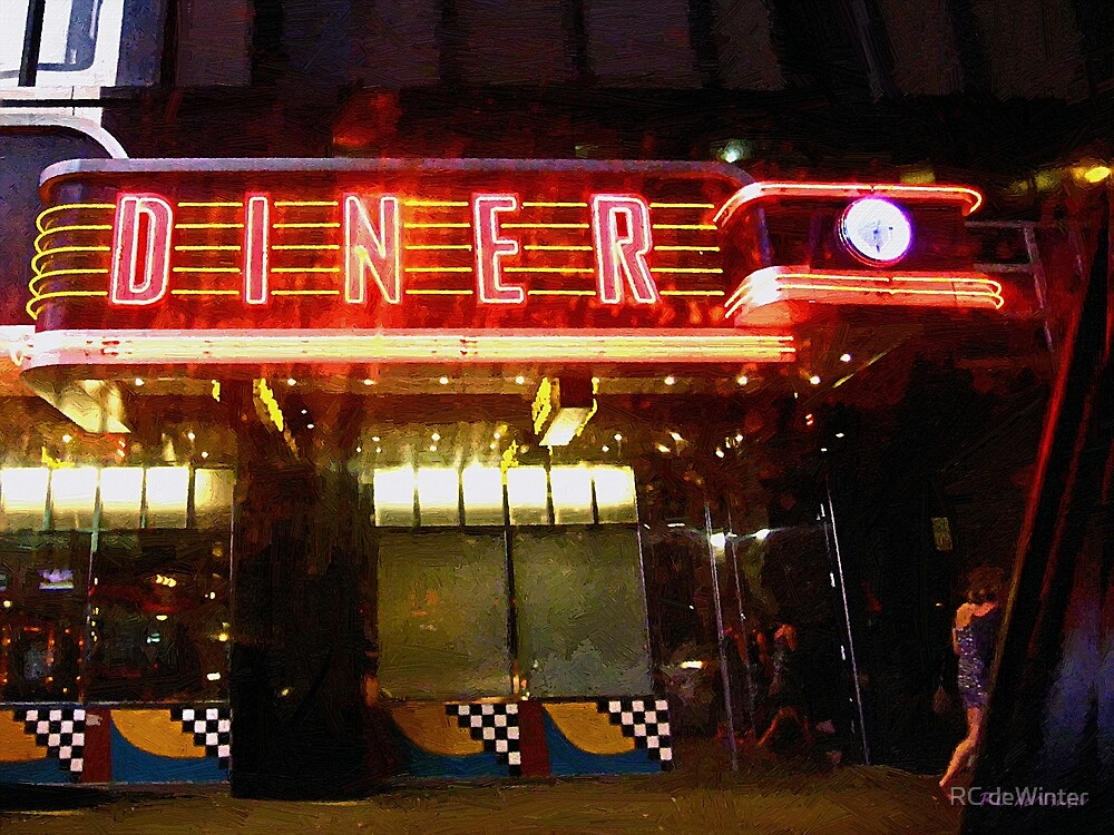 Night Walk Past the Diner by RC deWinter