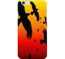 Happy Halloween Murder of Crows Against Sunset iPhone Case/Skin