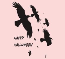 Happy Halloween Murder of Crows Against Sunset One Piece - Long Sleeve