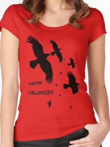 Happy Halloween Murder of Crows Against Sunset Women's Fitted Scoop T-Shirt