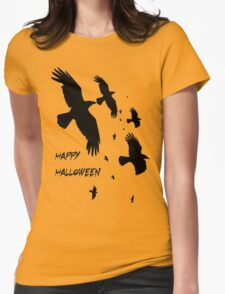 Happy Halloween Murder of Crows Against Sunset Womens Fitted T-Shirt