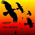 G:\Tee Shirt Designs\Happy Halloween Murder of Crows Against Sunset by taiche
