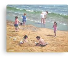 people on Bournemouth beach kids sand Canvas Print