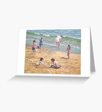 people on Bournemouth beach kids sand Greeting Card