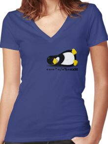 LINUX TUX THE PENGUIN Women's Fitted V-Neck T-Shirt