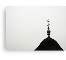 a closer view at a cross above the chapel. Canvas Print