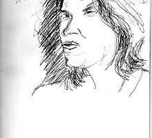 Tracy Emin on YouTube -(250711)- Biro pen/black ink by paulramnora