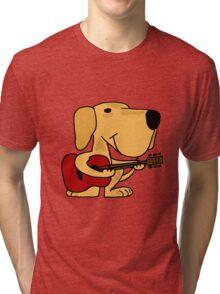 Funny Yellow Labrador Retriever Playing Guitar Tri-blend T-Shirt