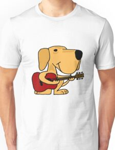 Funny Yellow Labrador Retriever Playing Guitar Unisex T-Shirt