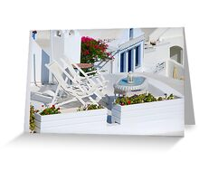 Relaxation in Oia Village, Santorini Greeting Card