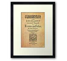 Shakespeare, Romeo and Juliet 1597 Framed Print
