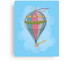 girl in an vintage hot air balloon Canvas Print