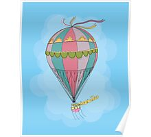 girl in an vintage hot air balloon Poster
